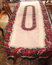 """Rare Christmas Tablecloth Vtg 1960 Brazilian Linen Poinsettias W/Gold 61"""" X 102"""""""