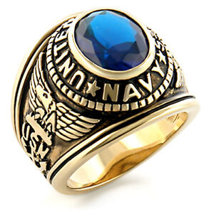 United States US NAVY Ring - USN Seals Military Rings - Surplus of Silver & Gold