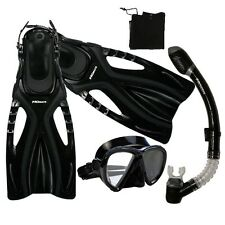 Snorkeling Spearfishing Dive Mask Snorkel Fins Gear Package Set