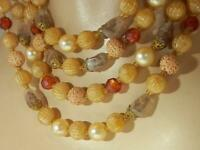 W Germany Signed Beige Lucite Givre Glass Beaded Necklace Vintage 1950's  168J9