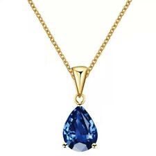 Water Drop Necklace 17Km Blue Crystal