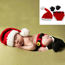 Red Baby Boys Girl Knit Hat Christmas Pants Santa Outfits Costume Photo Prop