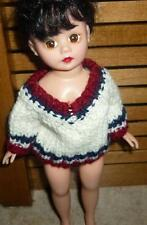 """White 'V' Neck Sweater w/Navy & Dark Red Trim for Cissette MA 10 """" Doll"""