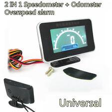 New 2IN1 Digital LCD 12/24V Car Truck Speed Meter+Odometer Gauge Overspeed Alarm