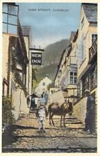 "High Street Scene ""New Inn"" Clovelly Devon, England Vintage Postcard ca 1910s"
