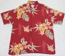 Dress Shirt Quiksilver 2XLT Hawaiian Red Mens Choice Short Sleeve XXL/TTG Tall