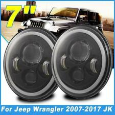 2x 7inch Round LED  Angle Eyes Headlights Turn Signal Driving Light For Jeep