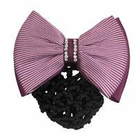Ladies Stripe Bowknot Decor Snood Net Barrette Hair Clip Bun Cover