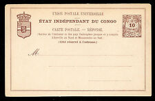 Belgian Congo 10 centimes Red Brown Palms and Crest Postal Card Unused