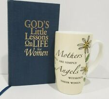 Mothers Coffee Cup  and Book for Women Mom Mothers and Angels Flowers Yellow