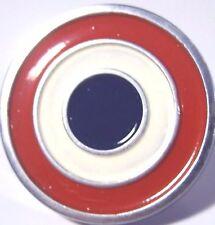 "'Javelin' ""Bulls-eye"" metal emblem, 1"" width/ height, new w/2 mounting tips"