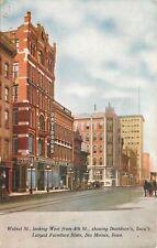 Des Moines Iowa~Walnut St~Davidsons Furniture Store~Kirkwood Cafe~1910 Postcard