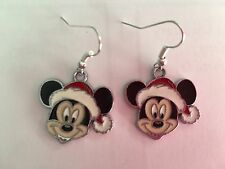 MICKEY MOUSE CHRISTMAS ENAMEL DROP HOOK EARRINGS DISNEY , CUTE GIFT BAG