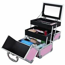 Makeup Train Case Cosmetic Bag Storage Box Aluminum Organizer Portable Pink