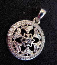 Diamond ESTATE STERLING Silver Victorian Lace Pendant Mourning Antique STAMPED