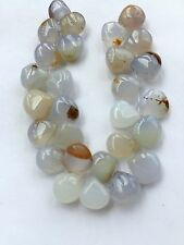 28 pcs. Natural Gray Chalcedony Polished Briolettes, 11-11mm