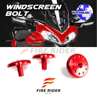 FRW RED Windscreen Plug Bolts Screw 3pcs For Ducati Multistrada 1200 2010-15