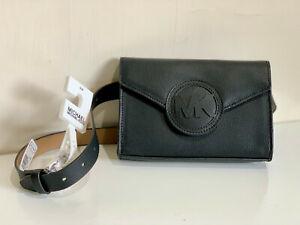 NEW! MICHAEL KORS MK BLACK GENUINE LEATHER FANNY PACK / BELT BAG SMALL / MEDIUM