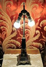 Vintage Black Glass Electric Table Lamp Enamel Hand-Painted Roses