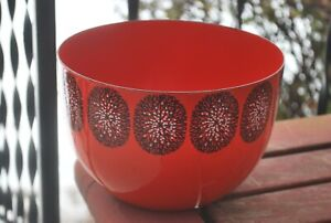 VINTAGE 1950'S RED FINEL BOWL,MADE IN FINLAND