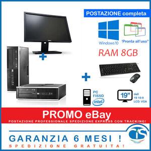 POSTAZIONE PC COMPUTER FISSO DESKTOP POTENTE 8GB RAM 19' DELL HP RICONDIZIONATO