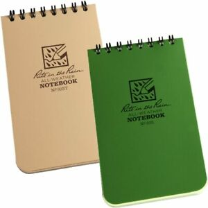 "Rite in the Rain Waterproof Notebook Notepad 3"" x 5"" Top Spiral Green Tan"