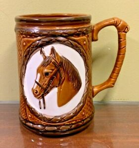 Vtg Horse Mug Stein Brown Glaze Japan Made EVC
