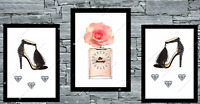 Set Of 3 Pink Rose Gold Prints Wall Art Bedroom Beauty Room Home Decor Poster