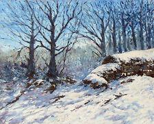 Dipinto ad olio originale: snowscene con muretto