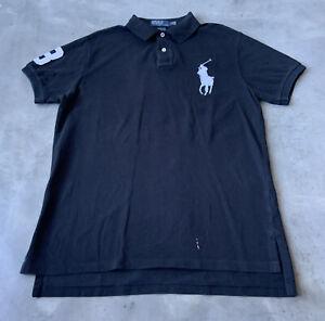 Polo Ralph Lauren Big Logo Custom Fit Polo Shirt Mens Size Large Black White 🐎