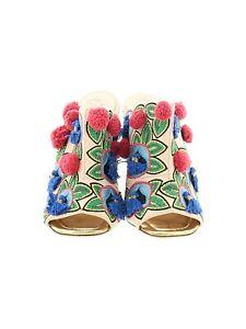 "Tory Burch Boho Floral Embroidery Pom Pom Tan Mule Clog Shoes Size 5.5 4"" Heel"