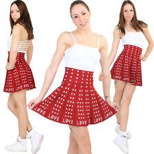 rot weisser LOVE HERZ Winter Woll Rock High Waist Mini kuschel Jupe skirt