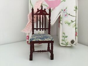 Dolls House 1/12th Scale Dark Wood Chair Bith Blue Fabric Print Seat