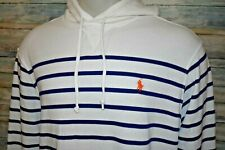 POLO RALPH LAUREN Men's L/S Relaxed Cotton Blend Hoodie Blue Striped Size XL