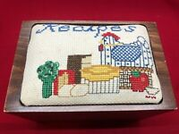 Wooden Recipe Box Cross Stitched Top Hinged Lid Vintage Country Sudberry House