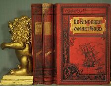 lot 3 old antique Dutch language books red black decorators shelf nautical decor