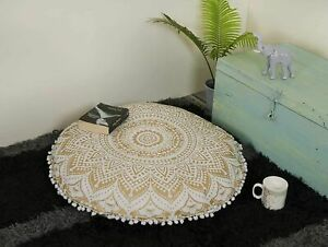 """Golden Ombre Boho Mandala Cotton Handmade Large Round Floor Cushion Cover 32"""" In"""