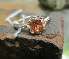 merii ring silber 925 mit cognacfarbenem kristall -tolle farbe- 18 mm v juwelier