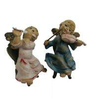 Vintage Cherub Puti Angel Pair Italy Plastic Sitting Angels Playing Instruments