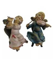Vintage Cherub Puti Angel Pair Italy Plastic Sitting Angels Playing Instruments