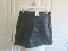 BNWT 2019 H&M SOLD OUT BLACK FAUX LEATHER POCKET FRONT SKIRT SIZE 12 £17.99