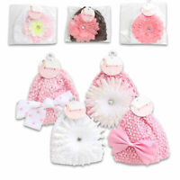 Baby Infant Cap Popcorn Hat Knitted Flower Girl 0-3 mo White Pink Brown NEW