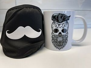 Moustache Face Mask And Mug Gifts For Him - Farthers Day - Birthday - Gift - New