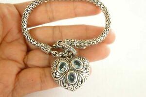 Blue Topaz Heart Balinese Dangle Drop 925 Sterling Silver Chain Toggle Bracelet