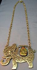 Vintage Marked Gold Crown INC Gold Plated Elephant Filigree Rhinestone Necklace