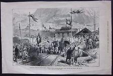 1880 FERROVIA GOTTARDO AIROLO arrivo 1° treno xilografia Gotthardbahn Gothard