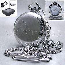 Silver Antique Pocket Watch Brass Case 41 MM - Fob Chain +  Gift Box Unisex P101