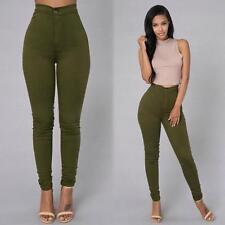 Damen High Waist Freizeit Skinny Jeans Stretch Hose Röhre Slim Leggins Hot Pants