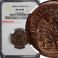 Mexico Copper 1889 Mo 1 Centavo NGC MS64 RB Nice Original RED Toning KM# 391.6