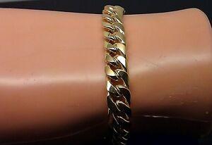Gold Bracelet Men 10k Real 7.5 inch Miami Cuban Link Box Lock Real Yellow Gold